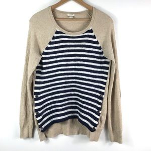 J. Crew | Tan Blue and White Striped Sweater